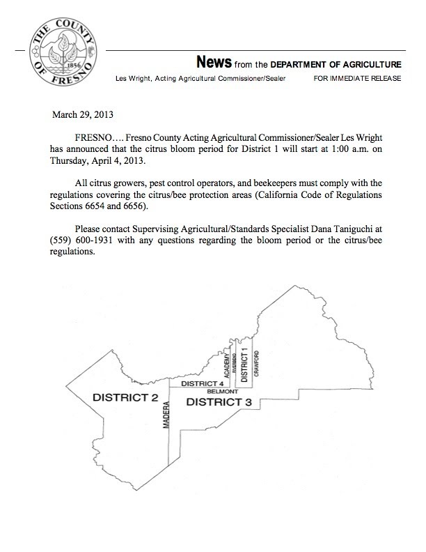 Fresno County District 1 Citrus Bloom Declaration