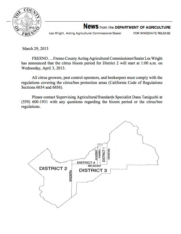 Fresno County District 2 Citrus Bloom Declaration