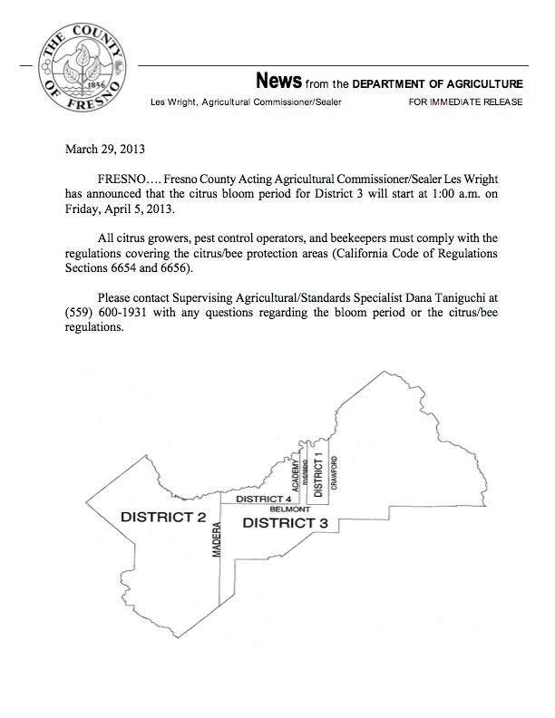 Fresno County District 3 Citrus Bloom Declaration