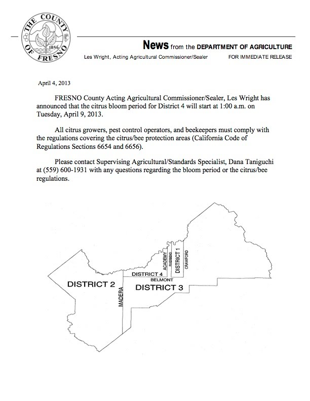 Fresno County District 4 Citrus Bloom Declaration